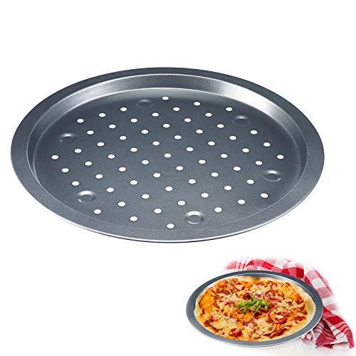 Westmark Pizza-Backblech, Bis Ø 33 cm, Thermolochung, Antihaftbeschichtet, Kaltgewalzter Stahl, Back-Meister, Anthrazit, 32922270