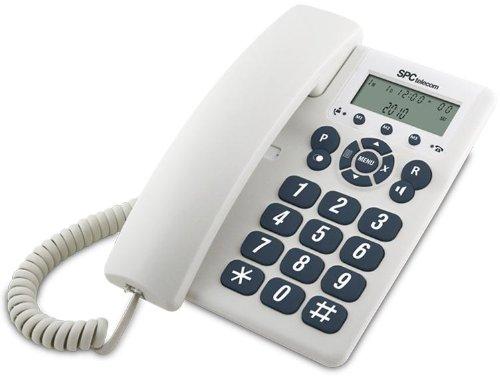 SPC Telecom 3603B - Teléfono fijo digital (control de volumen, reloj con calendario), blanco
