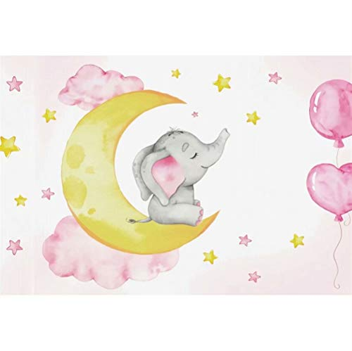 Laeacco Cute Cartoon Pink Elephant Background 7x5ft Girl Baby Shower Backdrop for Photography Polyester Golden Moon Stars Clouds Balloon Newborn Baby Infant Girl Kid Boy Child Birthday Banner