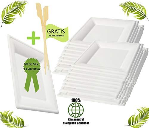 BIOQUQ Einwegteller   Bio Einweggeschirr 50 Stück eckig Zuckerrohr Teller weiß   Partyteller Speiseteller Einwegteller Einmalgeschirr (20x20cm (50 Stück))