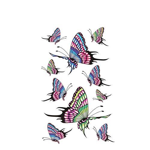 Chic-Net Tatuaje adhesivo de mariposas, multicolor, azul, verde, rosa y lila, 10 diseños
