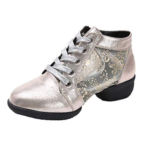 Damen Tanzschuhe Sneaker Trainingsschuh Jazzschuhe Transparent Schnürung Mittelhohe Weiche Sohle Rumba Ballroom Latein Salsa Tango Dance Schuhe