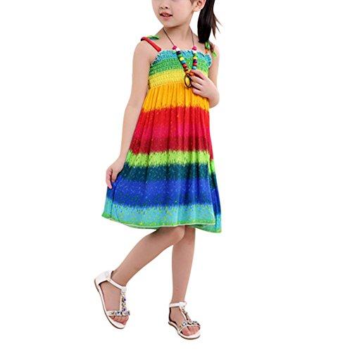 ESHOO Chicas Niña Verano Vacaciones Playa impresión Vestido con Collar
