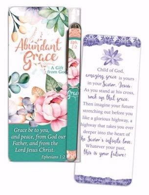 Christian Tools Affirmation Pen & Jumbo Bookmark Set-Abundant Grace (Ephesians 1:2 KJV)