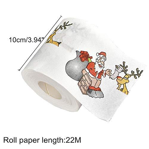 jiangjinya Año Regalos 22m / Rollo Papá Noel Reno Navidad Papel higiénico Decoraciones navideñas A, 1 Piezas