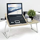 BAKAJI Tavolino Vassoio da Letto Divano per Notebook PC Laptop Pieghevole Leggio 65x30cm, Tavolino Colazione da Letto (Bianco)