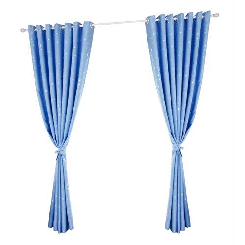 Stern Vorhang Muster solide Tür Fenster Vorhang Verdunkelung drapieren Badezimmer Wohnraum Dekor(Blau)
