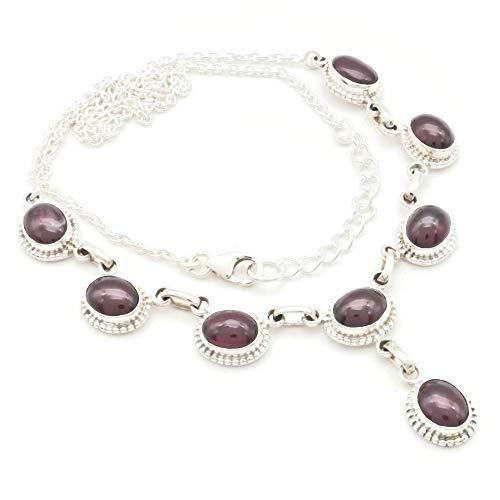 Granat Collier 925 Silber Sterlingsilber Kette Halskette rot (MCO 07-02)