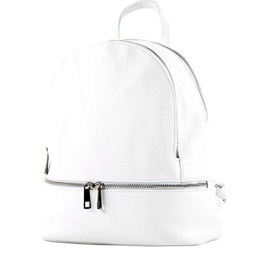 modamoda de - T137 Leder - ital Damen Rucksack Leder oder Nappaleder, Farbe:T137Leder-Weiß