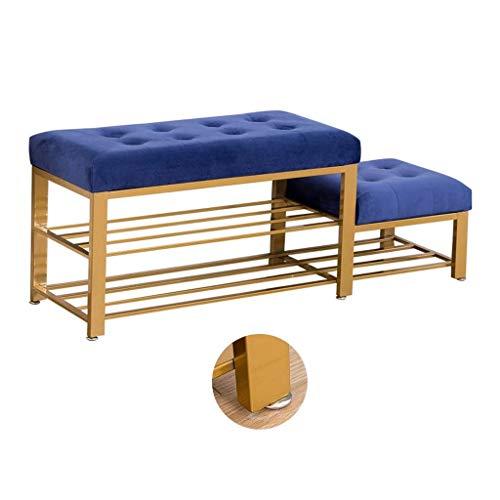 RANRANJJ Banco de Calzado Multifuncional Metal con Alta y Baja los Niveles de Rack de Almacenamiento Puerta de Entrada for el Adulto y niño Azul 80 * 35 * 45cm
