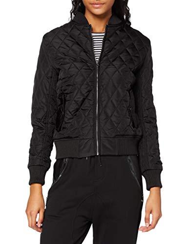 Urban Classics Damen Ladies Diamond Quilt Nylon Jacket Jacke, Schwarz (Black 7), 40 (Herstellergröße: L)