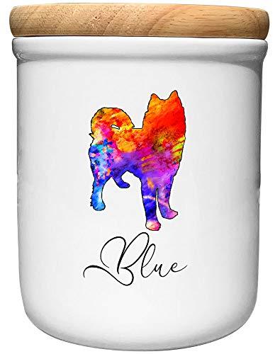 Cadouri Keramik Leckerli-Dose Husky » personalisiert mit Name deines Hundes «┊Snackdose Keksdose Aufbewahrungsdose┊mit Holzdeckel