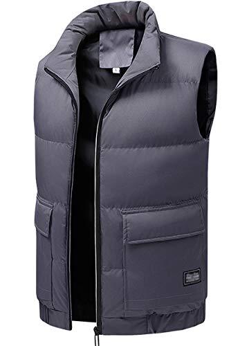WIEAYUMEI - Chaleco de plumón para hombre, impermeable, ligero, sin mangas, acolchado con bolsillos con cremallera para invierno