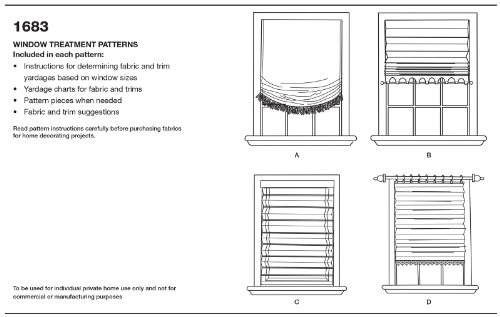 Simplicity 1683 Roman Shades in 4 Styles Sewing Pattern, Size OS (One Size)