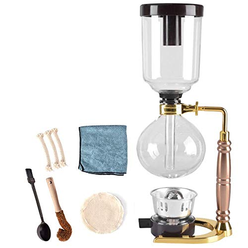 LYYJIAJU koffiezetapparaat, koffiezetapparaat herbruikbaar glas filter gereedschap Espresso koffie sifon pot, hittebestendige glazen pot handmatige koffiemachine