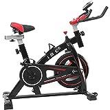 ISE Vélo D'appartement Vélo de Spinning Ergomètre Cardio Vélo Biking Fitness d'intérieur Exercice à la Maison, Silencieux, Poids d'inertie 10 KG,SY-7802 (Gourde non incluse) (Noir)