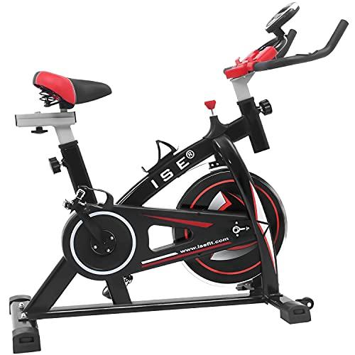 ISE Indoor Cycle Ergometer Heimtrainer mit LCD Anzeige,Armauflage,gepolsterte,8kg Schwungrad,Fitnessbike Speedbike mit flüsterleise Riemenantrieb-Fahrrad Ergometer bis 135Kg,170cm SY-7802