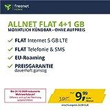 freenetMobile Handyvertrag D-Netz Allnet Flat 5 GB - Internet Flat, Allnet Flat Telefonie & SMS in alle Deutschen Netze, EU-Roaming, monatlich kündbar