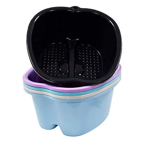 Fußbad Spa, Wasserbad und Fußmassage, stabiles Kunststoff-Fußbecken zum Einweichen von Fußen, Zehennägeln und Knöcheln, Pediküre, tragbare Fußwanne (schwarz)