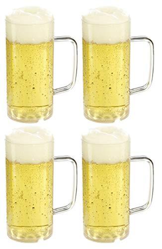 versandfuxx24 Outdoor Bierkrug 0,4l - 4er Set Bierglas mit Eichstrich bei 0,3l aus Kunststoff