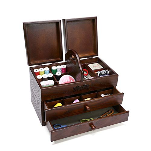SUWIN Color Antiguo portátil Caja de Costura Grande de Madera de 3 Capas Tipo cajón para el hogar, Caja de Almacenamiento para Dormitorio, Caja de Almacenamiento para artículos de Escritorio