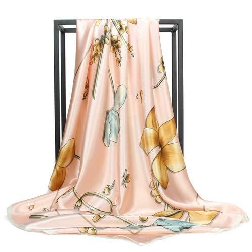 Pañuelo de Seda de Moda pañuelo de satén Plisado Bufanda Grande 90 * 90cm Pelo de Seda Cuadrado/pañuelo para la Cabeza pañuelo para Mujer - C117,90cm X 90cm