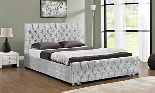 mm08enn Double/King Size Chenille Fabric Upholstered Alton Button Bed Frame in Cream,Beige,Light Grey, Grey & Black (5ft King Size, Grey)