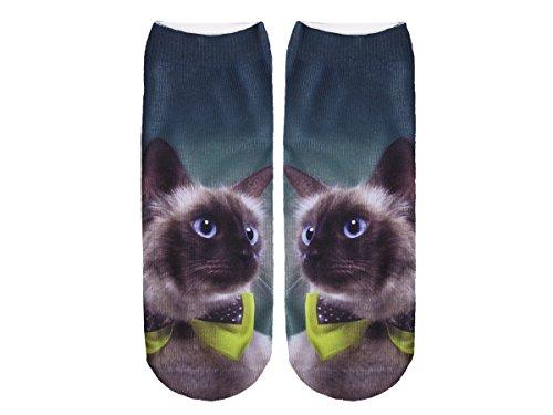 Unbekannt Socken bunt mit lustigen Motiven Print Socken Motivsocken Damen Herren ALSINO, Variante wählen:SO-L097 Katze