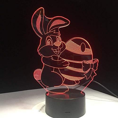 Nachtlampje 3D schattig konijntje carry egg bal wortel visuele kleuren van de lamp veranderen van de tafellamp met illusie van het nachtlampje LED voor kinderen slaapkamer voor kinderen