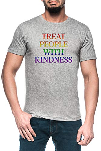 Treat People with Kindness - Pride Herren Grau T-Shirt Kurzarm Men\'s Grey T-Shirt