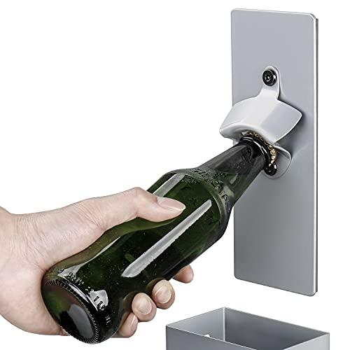 Abridor de botellas kasimir abrebotellas abrebotellas iman abridor de botellas de cerveza cesta de almacenamiento (máximo 80 tapas de botella) pared 3M * 1 regalados-Gris Plateado