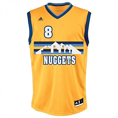 adidas INT Replica Jrsy Camiseta, Hombre, Amarillo/Azul (NBA Denver Nuggets 8 3Ng), 2XS