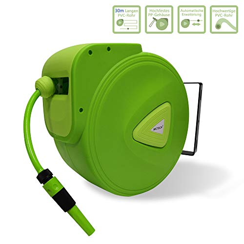 HENGMEI Schlauchtrommel Mobile Gartenschlauch mit 30m + 2m Schlauch - Schlauchaufroller Automatischer Schlauchbox 180°schwenkbar für Bewässerung, Autowäsche