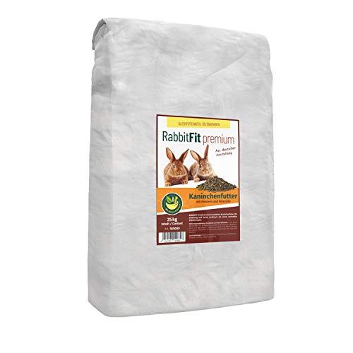 VOSS RabbitFit Premium 25kg Kaninchenfutter Pellets mit Wertvollem Kräuterzusatz und Petersilie, Alleinfutter für Kaninchen