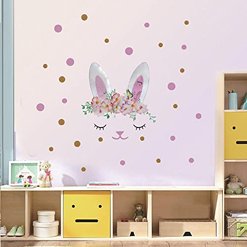 Rabbit Origin Stars Wall Sticker Mural with Garland Removable Vinyl Fairy Fairy Wall Decal for Girl Room Nursery Baby Bedroom 27X27Cm