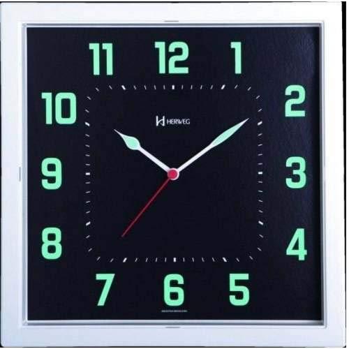 Relógio Parede Herweg 660036 196 Quadrado Fluorescente