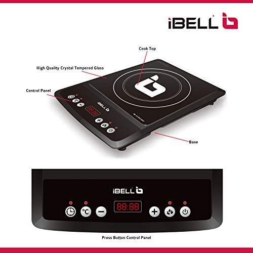 iBELL Hold The World. Digitally! 2000 W with Auto Shut Off and Overheat Protection, BIS Certified Induction Cooktop, Black