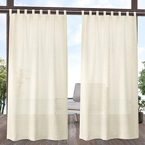 Exclusive Home Curtains Miami Indoor/Outdoor Tab Top Curtain Panel Pair, 54x96, Ivory