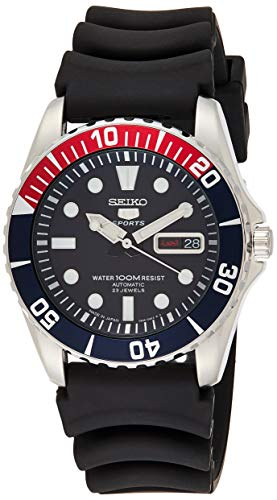 Seiko 5 Sports Automatic Blue Dial Red Bezel Black Strap