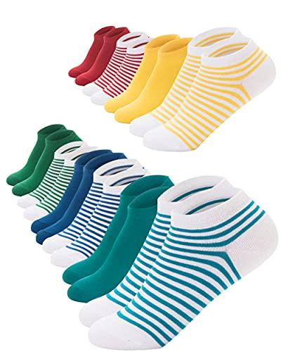 FOOTNOTE I 10 Paar I Sneaker Socken Ohne Gummi Ohne Naht Damen Herren Bunt Rot Grün Blau Gelb Türkis Gestreift in 39 40 41 42