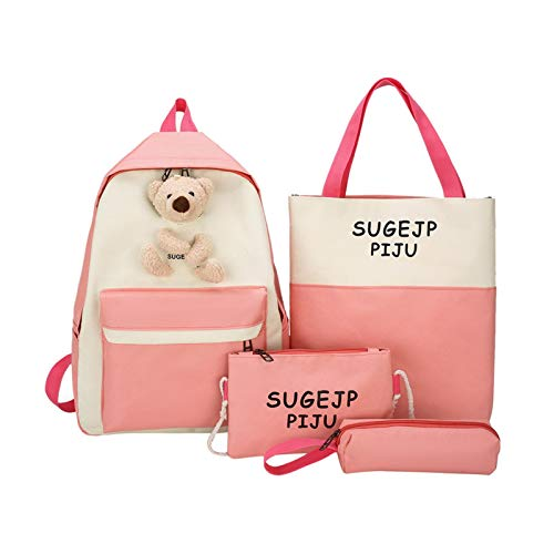 Ys-s Personalización de la Tienda 4 Piezas Conjunto Damas Mochila astuto Oso Rucksack Elegante niña niña Bolso Escolar Bolsa Mochila Mochila Bolso de Hombro (Color : Pink)