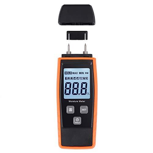 AMTOVL LCD Igrometro Digitale per Legno con Retroilluminazione Rilevatore Umidità 2 Pin 9.8mm per Legna da Ardere Malta Cementizia Malta di Calce Misuratore Indicatore di Umidità Legno 0-80% Portatile