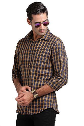 UNBEAT Men's Checkered Regular Fit Full Sleeve Cotton Casual Shirt -Mustard-XL