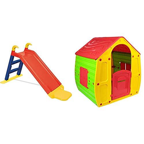 KitGarden - Tobogán Infantil, 141x60x78,5cm, Multicolor, Children Slide + Caseta Infantil Exterior, 102x90x109 cm, Multicolor, Magical House