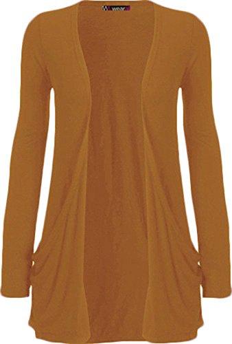 WearAll - Damen Langarm Cardigan mit Taschen - Senf - 48-50