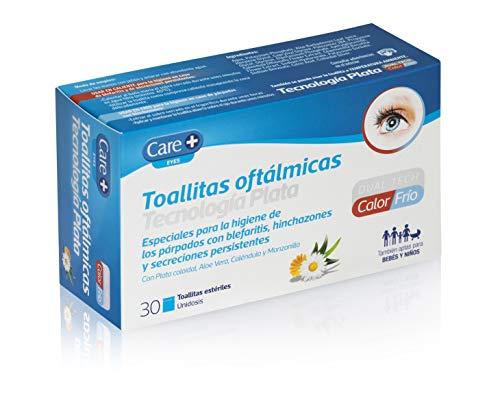 Care + Toallitas Oftálmicas con tecnología plata - higiene de párpados - 30 unidades individuales