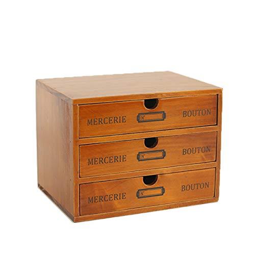 Verve Jelly Schubladenbox mit 3 Fächern – Mini-Kommode aus Holz, Tischorganizer für Bürobedarf, Krimskrams, Kosmetik - Braun