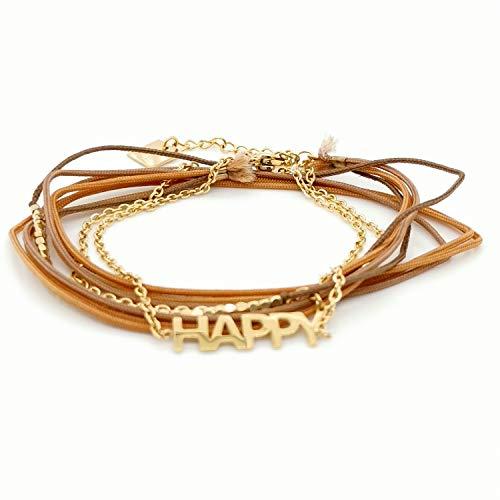 Armband Zag doré marron-goud bruin