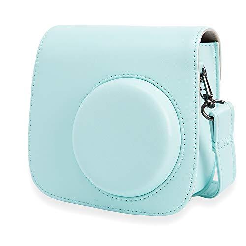 Annle Tasche für Fujifilm Instax Mini 8 / Mini 9 Sofortbildkamera aus Weichem Kunstleder mit Schulterriemen und Tasche (Eisblau A)