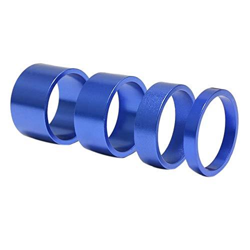 Baalaa 4 unids/set 5/10/15/20mm aleación de aluminio vástago espaciador 28.6mm tenedor arandela tapa para bicicleta de carretera, color azul